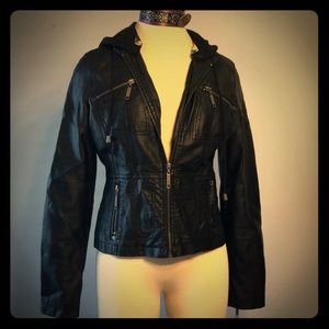 Faux Leather Indigo Saints Black Hooded Jacket